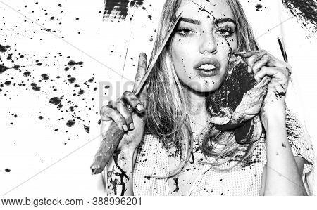 Sexy Girl Killer. Halloween Festival. Fear And Horror. Steak Concept. Meat Food. Murderer Tender Gir