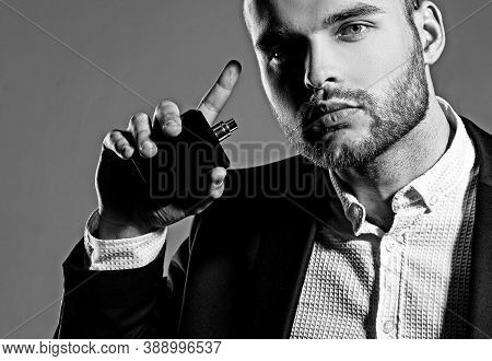 Perfect Beard. Mens Perfume. Haircuts For Men. Stylish And Hairstyle. Handsome Bearded Man With Lush