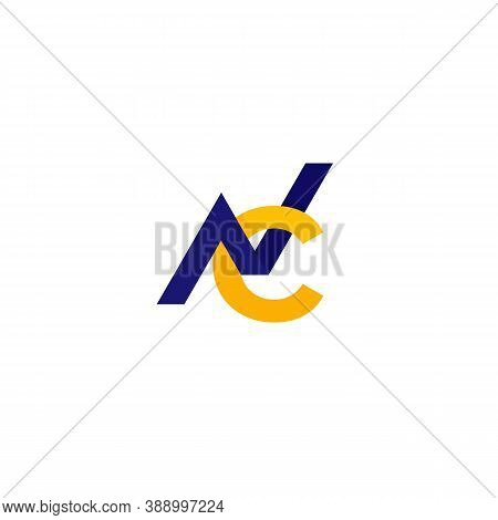 Nc Monogram Vector Logo On White, Eps 10 File, Easy To Edit