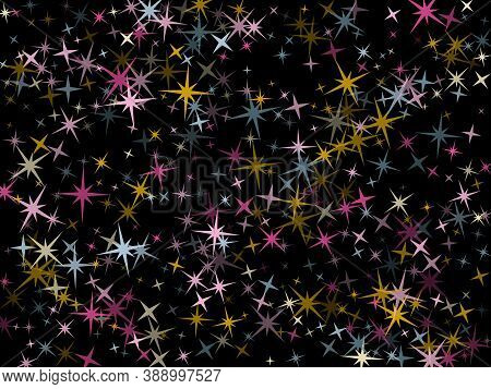Pink Blue Gold Vector Star Background Sparkle Pattern. Stylish Colored Confetti Of Flying Stars, Mag