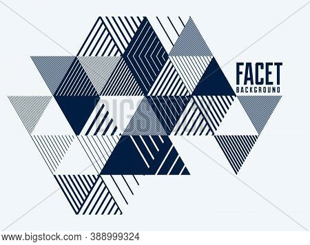 Line Design 3D Cubes And Triangles Abstract Background, Polygonal Low Poly Isometric Retro Style Tem