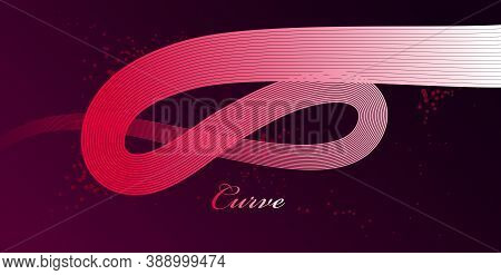 Abstract Red Lines In 3D Motion Dimensional Perspective Vector Background, Elegant Curvy Light Strip
