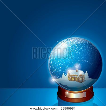 Glass Dome with Christmas Scene. Wooden House and Pine Forest on Winter Landscape. 3D Vector Illustration for your Christmas or New Years Greeting Card poster