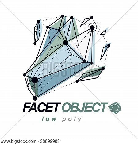 Abstract Vector 3D Mesh Polygonal Object. Communication Technologies Modern Logotype.