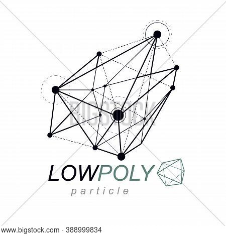 Abstract Vector Geometric Form, 3D Shape. Communication Technologies Modern Emblem.