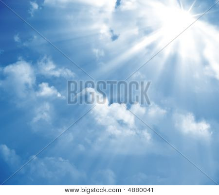 poster of A photography of a blue sky with sun rays