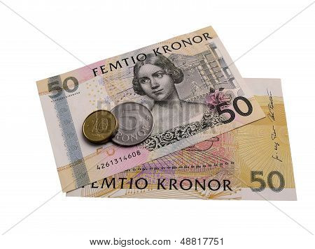 Swedish banknotes and coins.