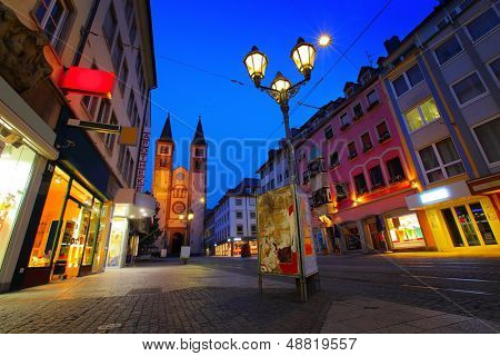 Cozy street of Wurzburg town at twilight. Germany poster