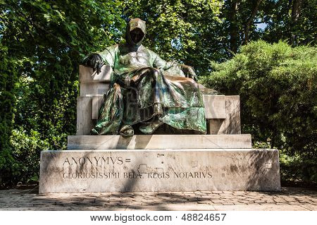 Statue Of Anonymus In Budapest