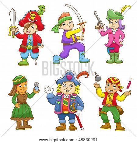set of pirate child cartoon.