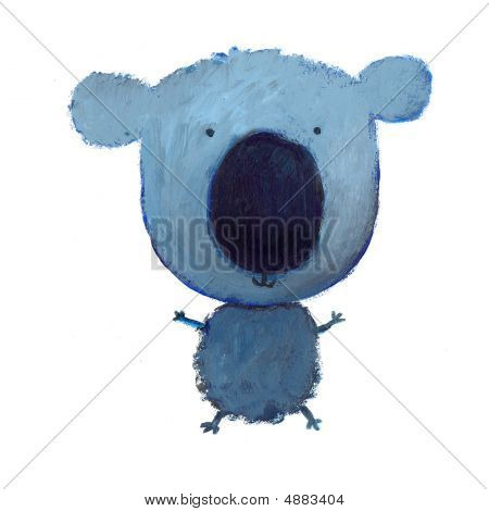 happy blue koala with big black nose and funny face poster