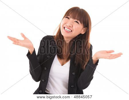 Portrait of Asian businesswoman open arms showing unbelievable expression isolated on white background. Asian female model.
