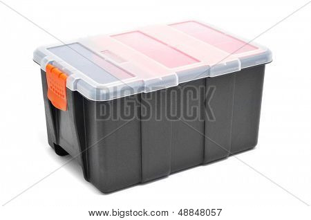plastic organiser with storage compartments on a white background
