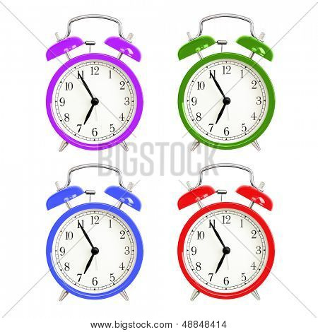 Alarm clocks isolated on white background. Red, blue green and purple wake up alarm clock cut outs. Classic style bell alarm clock.