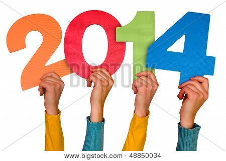 Hands With Numbers Shows Year 2014
