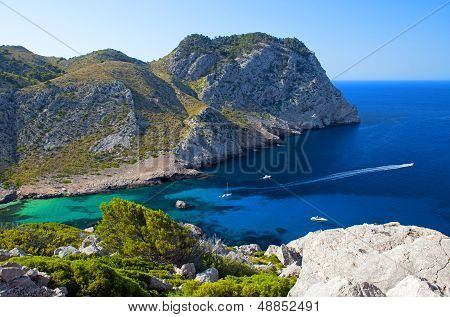 Beautiful Beach Bay Called Cala Figuera On Cape Formentor In Mallorca, Spain