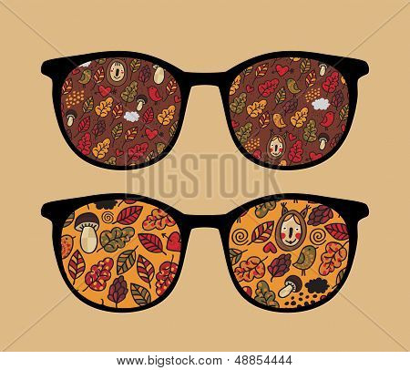 Retro sunglasses with autumn reflection in it. Vector illustration of accessory - isolated eyeglasses. poster