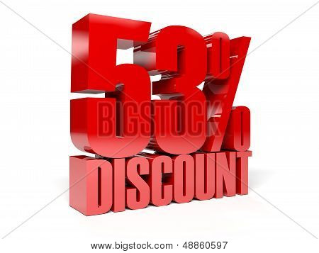 53 percent discount. Red shiny text. Concept 3D illustration. poster