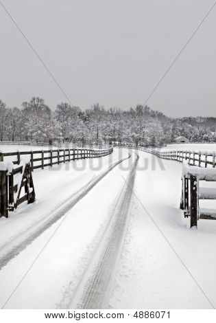 Snowy Farm Driveway