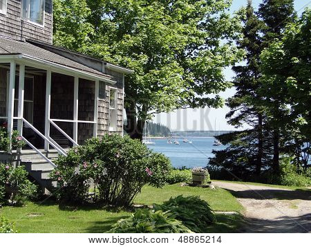 Classic White New England House,