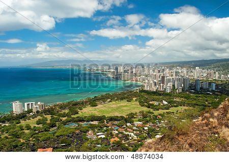 Aerial View Of Honolulu And Waikiki Beach From Diamond Heat