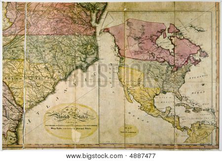 Antique Map Of United States C. 1800