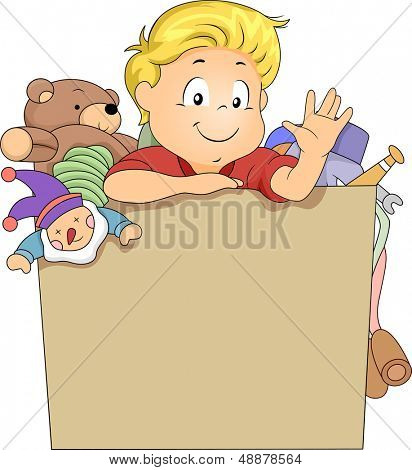 Illustration of Kid Boy in a Toy Box Full of Toys with space for Text