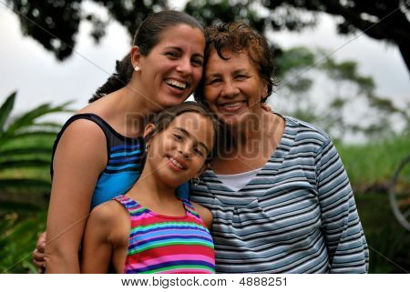 Three Generations Of Beautiful Hispanic Women