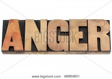 anger word  - isolated text in vintage letterpress wood type