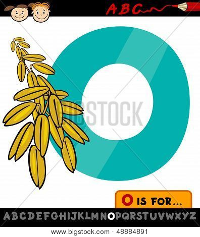 Letter O With Oat Cartoon Illustration