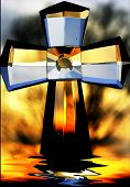 A cross sitting on my back deck with some photoshop editing. poster