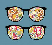 Retro eyeglasses with strange creatures reflection in it. Vector illustration of accessory - isolated sunglasses. poster