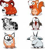 Some cartoon animals (bighorn racoon lynx squirrel woodpecker goat). poster