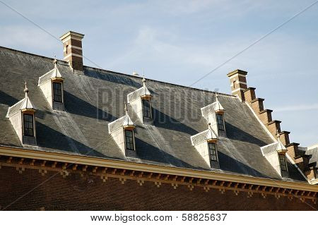 The roof with dormer windows