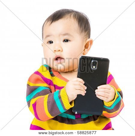 Baby holding mobile