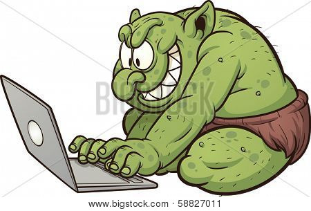 Fat internet troll using a laptop. Vector clip art illustration with simple gradients. All in a single layer.
