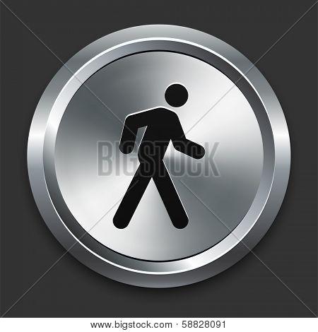 Walking Icon on Metallic Button Collection