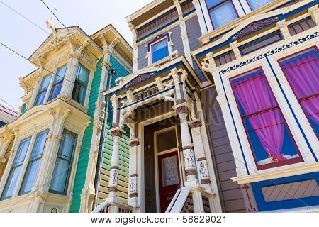 San Francisco Victorian houses in Pacific Heights of California USA