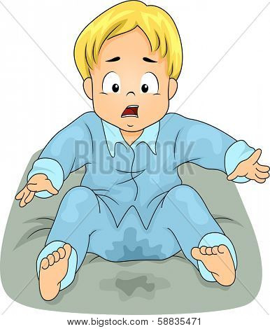 Illustration of a Little Boy Shocked to See He Has Wetted His Bed