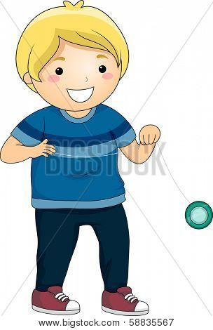 Illustration of a Little Boy Playing with a Yoyo