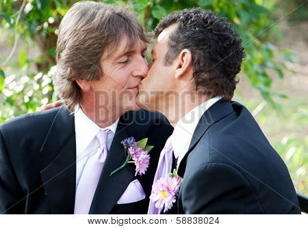 Handsome gay male couple kissing in the park on their wedding day.