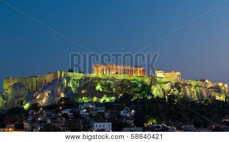 Acropolis Parthenon By Night, Athens, Greece