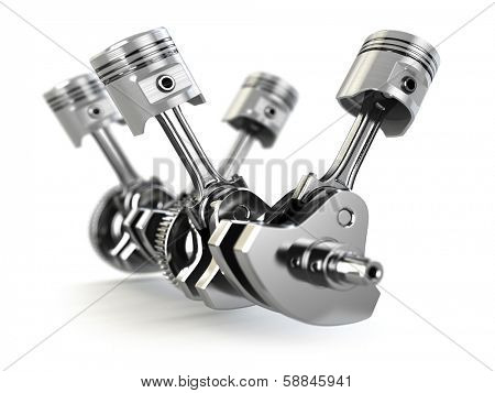 V4 engine pistons and cog. 3d
