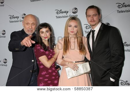 LOS ANGELES - JAN 17:  Hector Elizondo, Molly Ephraim, Amanda Fuller, Christoph Sanders at the ABC TCA Winter 2014 at The Langham Huntington on January 17, 2014 in Pasadena, CA