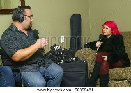 SOLANA BEACH, CA - JAN. 15: Allison Iraheta is interviewed by David Dawson prior to her performance on January 15, 2014 at the Belly Up Tavern in Solana Beach, CA.