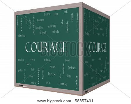 Courage Word Cloud Concept on a 3D cube Blackboard with great terms such as strength gallantry bold and more. poster