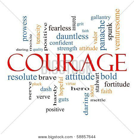 Courage Word Cloud Concept with great terms such as strength gallantry bold and more. poster