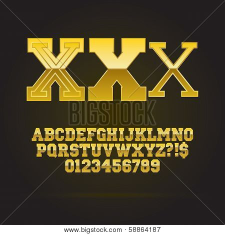 Golden Bold Font And Numbers, Eps 10 Vector, Editable For Any Background