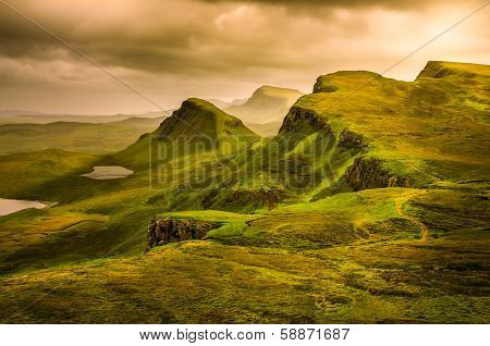 Scenic View Of Quiraing Mountains Sunset With Dramatic Sky, Scotland