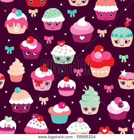 Seamless happy cupcake birthday party illustration background pattern in vector